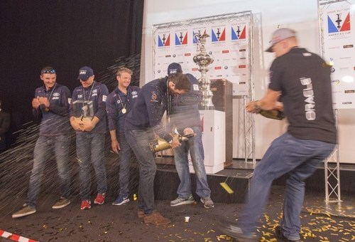 July 26 2015 Americas Cup World Series Portsmouth 2015Land Rover BAR Team, Ben Ainslie is awarded the 1st ...