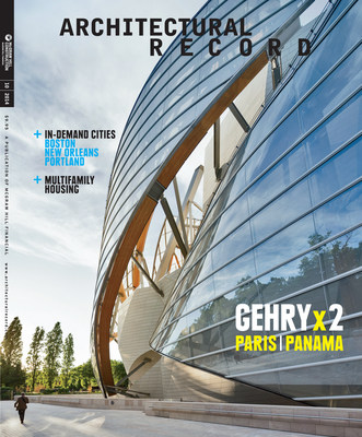 """The October 2014 issue of McGraw Hill Construction's Architectural Record features a unique """"split run"""" cover highlighting two new museums designed by celebrated architect Frank Gehry. The Fondation Louis Vuitton museum in Paris, France and the Biomuseo in Panama City, Panama will appear on alternate covers of the magazine. For more information, visit www.architecturalrecord.com."""