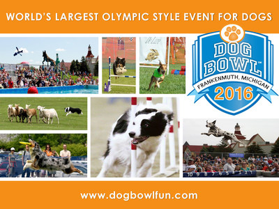 Dog Bowl 2016 in Frankenmuth, MI is the world's largest Olympic style event for dogs. This year's 10th annual event held May 28-29, 2016 is expected to draw more than 50,000 spectators and 5,000 dogs, including international competitors. Sponsorships are welcomed from companies seeking to connect with this audience.