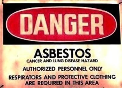 Asbestos warning sign (PRNewsFoto/Mesothelioma Victims Center)