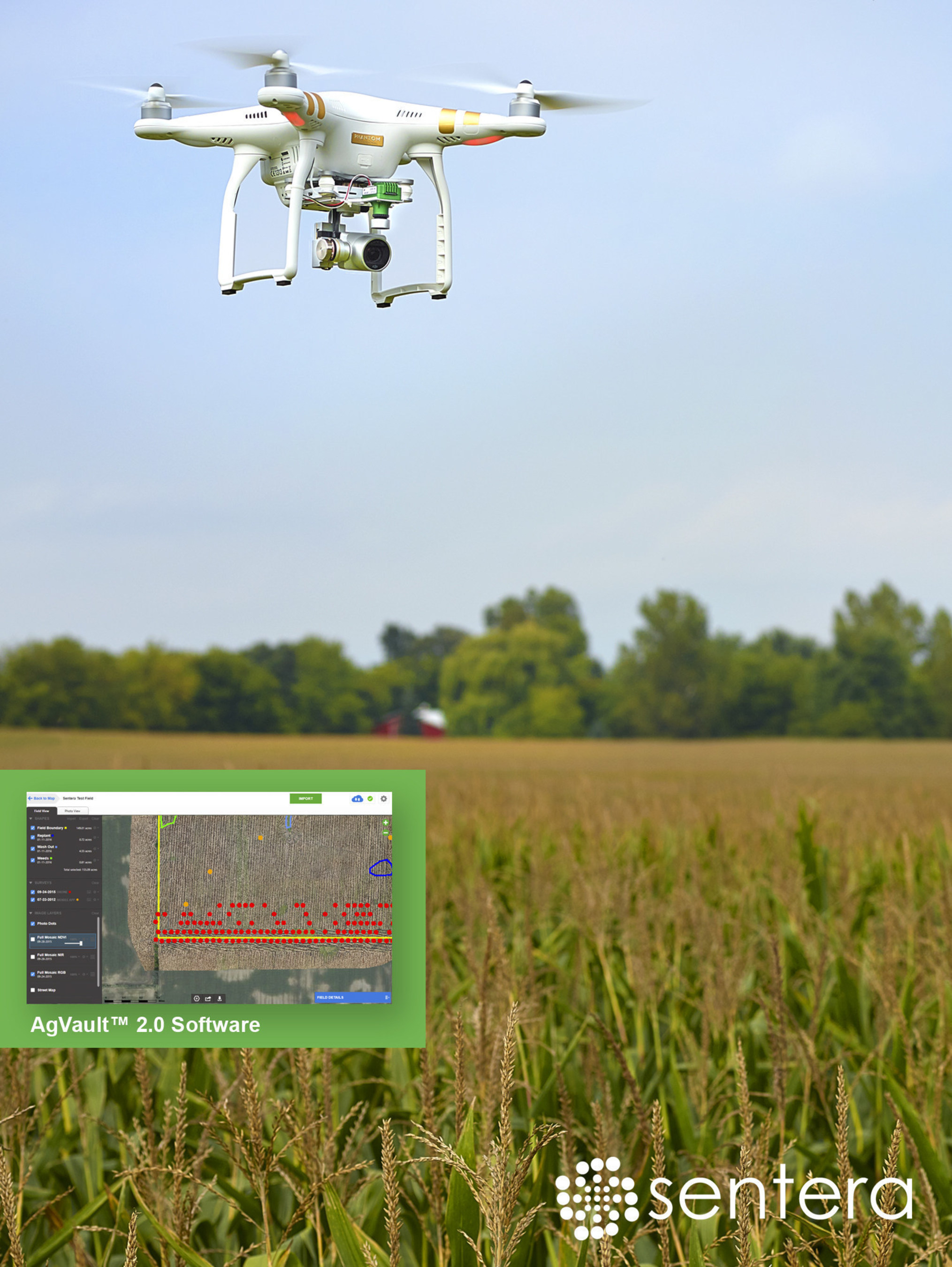Sentera AgVault(TM) Software Solution works seamlessly with the DJI Phantom 3 NDVI Upgrade; turning a commercially-available drone into a precision scouting tool