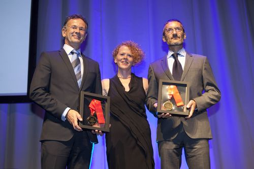 Dr Jordi Mones, head of FC Barcelona's medical area and Gerhard Steffes from DG SANCO European Commission receive the 2013 ELF Award by Monica Fletcher, ELF Chair at the opening ceremony of the ERS Annual Congress in Barcelona today.