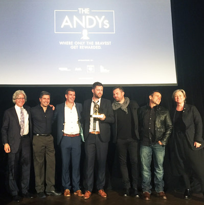 From l. to r.: David Sable, Global CEO Y&R; Fernando Machado, SVP Global Brand Management, Burger King; Jono Key, Head of Planning, Y&R New Zealand; Tom Paine, Creative Director, Y&R Auckland; Josh Moore, CEO & CCO, Y&R New Zealand; Tony Granger, Global CCO Y&R and Colleen DeCourcy, Presenting the Award