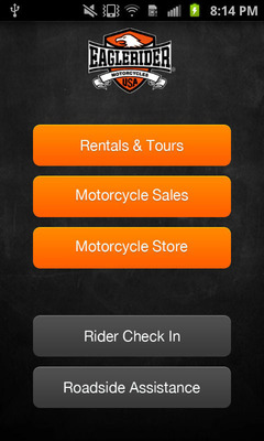 EagleRider mobile app's interface.  (PRNewsFoto/EagleRider)