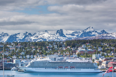 """The new 930-passenger Viking Sea, docked in Tromso, Norway on the first sailing of Viking's new """"Into the Midnight Sun"""" itinerary that cruises between London and Bergen, Norway. (Credit: Yngve Olsen Saebbe/Nordlys)"""