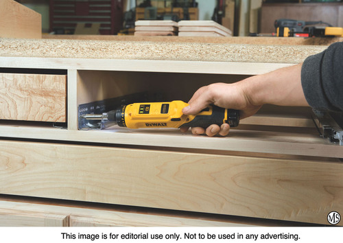 In the in-line position, DeWalt's 8V MAX Gyroscopic Screwdriver works easily in hard-to-reach spots. The push of a button changes the screwdriver to pistol grip position. (PRNewsFoto/Woodcraft) (PRNewsFoto/WOODCRAFT)