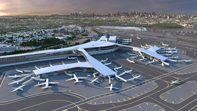Key features of the new LaGuardia Central include pedestrian bridges over the active taxi lanes with sweeping views of the airfield and the Manhattan skyline beyond