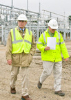 Iberdrola Chairman Ignacio Galan (L) tours the site of a new substation in Lewiston, Maine to review progress on the company's $1.4 billion Maine Power Reliability Program (MPRP). Central Maine Power Company (CMP), the local subsidiary of Iberdrola USA, will install a 345,000 volt autotransformer at the site later this month. Iberdrola's investment in Maine's bulk power system will double CMP's high voltage substation capacity and increase transmission capacity for the integration of new generation in the New England region. The 5-year construction plan is considered the largest construction project in Maine history.  (PRNewsFoto/Iberdrola USA)