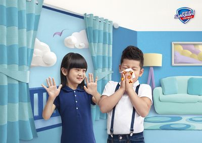SAFEGUARD CHINAâeuro(TM)S CELEBRITY BRAND AMBASSADORS, Cindy, Tian Yu-cheng and Shitou, Guo Zi-rui. (PRNewsFoto/Procter _ Gamble)