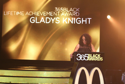 GRAMMY(R)  award-winning recording artist -- and 2013 McDonald's(R) 365Black(R)  Award honoree – Gladys Knight owned the spotlight at the 10th annual ceremony, held at the New Orleans Theater, on July 6. The McDonald's 365Black Awards are given annually to salute outstanding individuals who are committed to making positive contributions that strengthen the African-American community.   (PRNewsFoto/McDonald's USA, LLC)