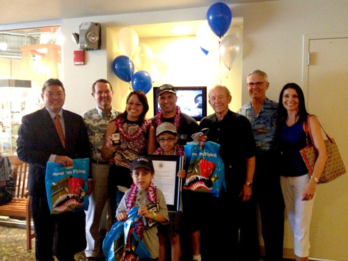 Pacific Aviation Museum Pearl Harbor welcomed its 1,000,000th visitor, the Valencia family from Modesto, CA.  (PRNewsFoto/Pacific Aviation Museum Pearl Harbor)