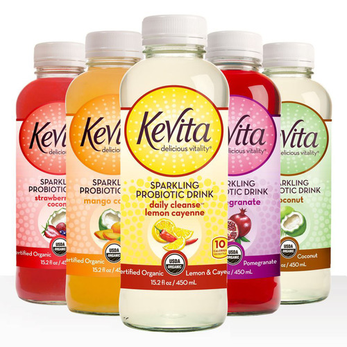 New for January 2013, KeVita Sparkling Probiotic Drink(R) announces KeVita Daily Cleanse(TM). Exclusively at Whole Foods Market(R) nationwide, the new flavor with lemon and cayenne is a low calorie, low glycemic interpretation of the classic Master Cleanse. Lightly sweetened with stevia, KeVita Daily Cleanse has only 10 calories and two grams of sugar per bottle. Certified organic KeVita features four strains of live probiotics.  (PRNewsFoto/KeVita)