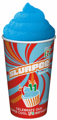 7-Eleven stores in the U.S. and Canada will give away 5 million free 7.11-ounce Slurpee beverages Monday, July 11, or 7-Eleven Day -- to celebrate the company's 84th birthday and thank customers for their patronage.  (PRNewsFoto/7-Eleven, Inc.)