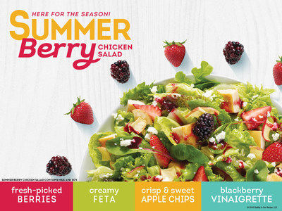 Wendy's Summer Berry Chicken Salad is filled with vibrant tastes, but a lot of work went into that bite. Filled with fresh strawberries and blackberries picked at the peak of their season--something no other national QSR can deliver--this salad is available for a limited time this summer. Topped with feta cheese, crunchy red apple chips, freshly-grilled chicken breast and a light blackberry vinaigrette, it is a perfect balance of sweet and savory. The fully dressed, full-sized entree salad is 390 calories.