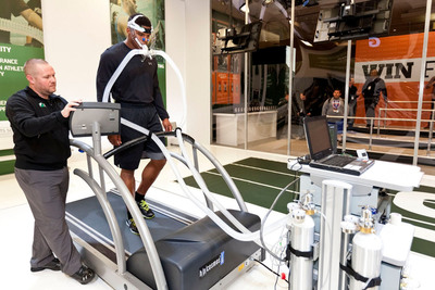 Carolina Panthers quarterback Cam Newton performs the VO2 Max test at the Gatorade Sports Science Institute (GSSI) lab at Super Bowl XLVI. Newton and Gatorade announced a new, multi-year partnership on Wednesday adding Newton to a roster of the world's most elite athletes.  (PRNewsFoto/Gatorade)