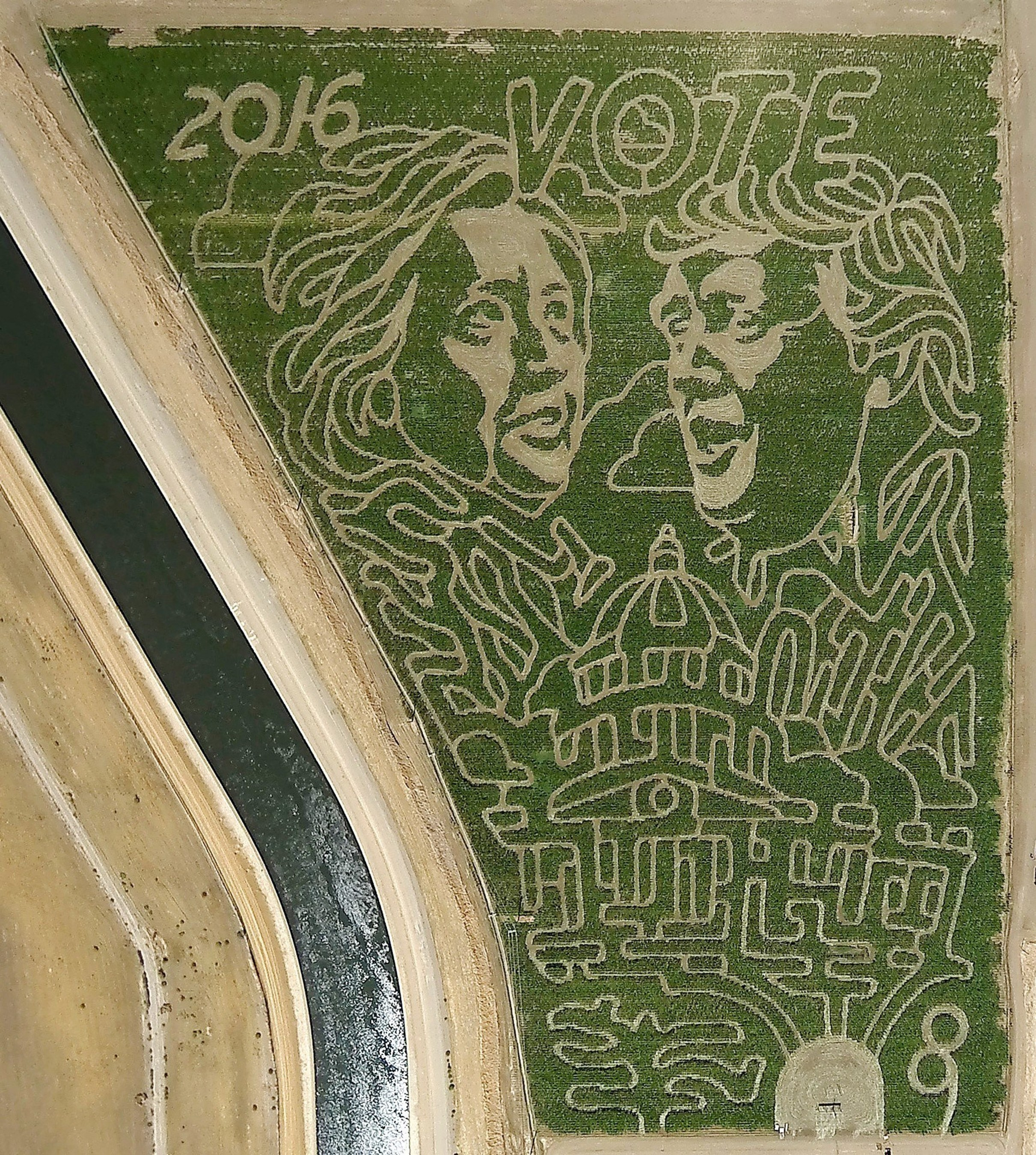 Huge Election-Themed Corn Maze in Patterson Features Likenesses of Hillary and Trump