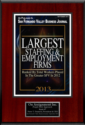 "On Assignment, Inc. Selected For ""Largest Staffing & Employment Firms"""