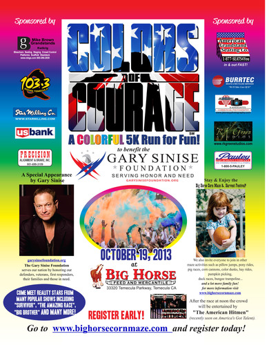 Colors of Courage 5K Family Fun Run, September 19, 2013, to benefit the Gary Sinise Foundation and hosted by ...
