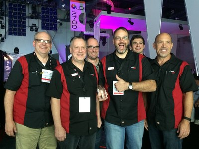 The PRG team with their LDI 2015 Best Debuting Product Award for the PRG GroundControl Followspot System.