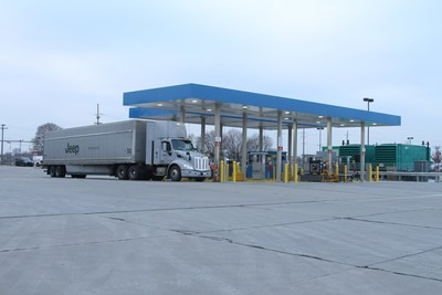 FCA US LLC's high-volume Compressed Natural Gas (CNG) fueling station, designed and built by TruStar Energy, one of the nation's leading developers of CNG fueling infrastructure. The station, powered by six Ariel compressors and capable of dispensing nearly 40 gasoline-gallon equivalent (GGE) per minute, is owned and maintained by TruStar Energy and represents the largest private fast-fill CNG fueling station in North America. The station, located at the automaker's North American Detroit Terminal fuels FCA Transport's fleet of 179 tractor trucks with cleaner, domestically produced natural gas.