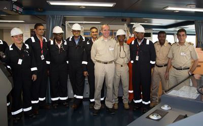 The Chairman of Angola LNG Ltd and the project's senior leadership meet the Captain and crew onboard the SS Sonangol Sambizanga before the ship leaves Soyo with Angola LNG's first cargo.  June 2013.