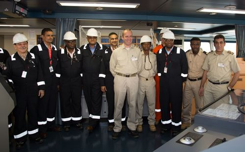 The Chairman of Angola LNG Ltd and the project's senior leadership meet the Captain and crew onboard the SS ...