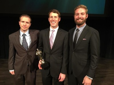 Sean Kline, Andrew Maxey, and Mark Williams of Vartega Carbon Fiber Recycling receiving the National Emerging Technology Award at the Cleantech Open Global Forum on November 19, 2015 at Herbst Theatre.