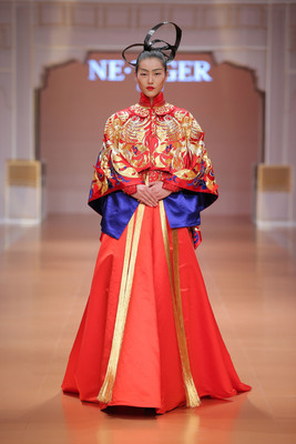 """Liu Wen, as the world super model, attended NE.TIGER 2014 """"Great Yuan"""" Haute Couture Fashion Show. (PRNewsFoto/NE.TIGER) (PRNewsFoto/NE.TIGER)"""