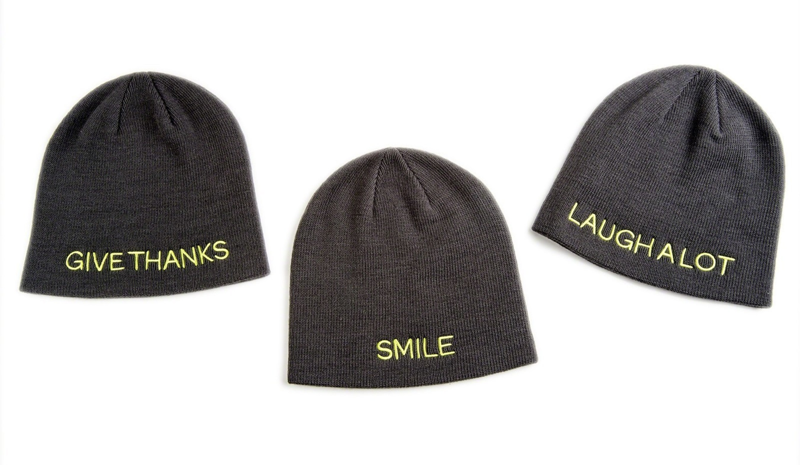 "The Giving Hat(TM) is a stylish winter knit hat, one-size-fits-all and available in three versions embroidered with messages inspired by St. Jude patients and their families: ""Smile,"" ""Laugh A Lot,"" and ""Give Thanks."" The Giving Hat(TM) is available exclusively this holiday season at all Kmart stores or online at kmart.com/stjude"