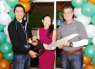 (from left to right) Michael Uribe, general manager, Zipcar San Francisco, along with Jane Kim, San Francisco's District 6 Supervisor and Dan Grossman, Zipcar Regional Vice President, West Coast, officially open Zipcar San Francisco's newly expanded office during a Ribbon Cutting ceremony on July 21, 2011.   (PRNewsFoto/Zipcar, Inc., Andy Kuno)