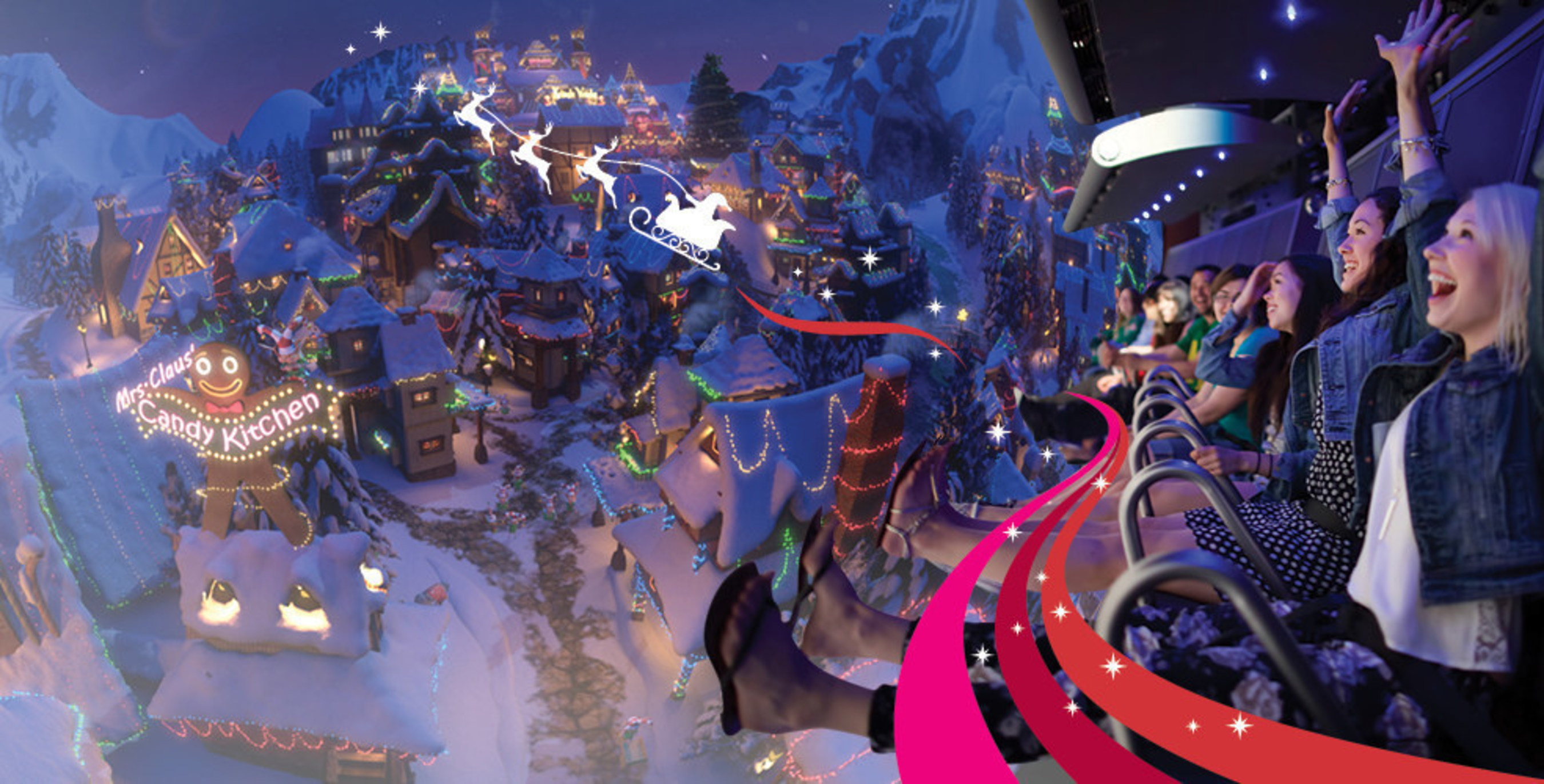 Guests fly to the North Pole on FlyOver America's Christmas ride located at the Mall of America.
