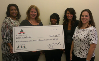 Fort Worth area ACE associates present Girls Inc. of Tarrant County with $2,121.93 donation.  (PRNewsFoto/ACE Cash Express, Inc.)