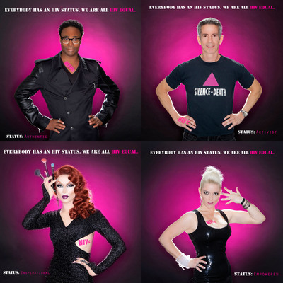 (Clockwise) Tony Winner Billy Porter, Activist Peter Staley, Meg, Miss Fame.  (PRNewsFoto/World Health Clinicians)