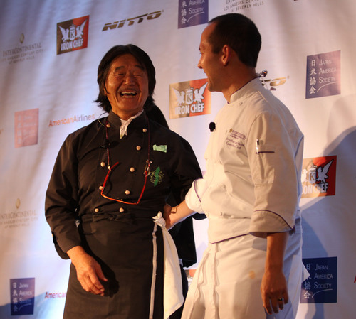 "Iron Chef Hiroyuki Sakai and InterContinental LA hotel Executive Chef Jonathan Wood at Japan America Society of Southern California's ""Iron Chef Sakai LIVE"" dinner event.  Co-presented by Nitto Tire U.S.A. and InterContinental LA Century City at Beverly Hills.  American Airlines is the official airline.  Proceeds from ""Iron Chef Sakai LIVE"" benefit the Japan America Society of Southern California, a nonprofit organization established to build meaningful relationships between Japanese and Americans.  (PRNewsFoto/Japan ..."