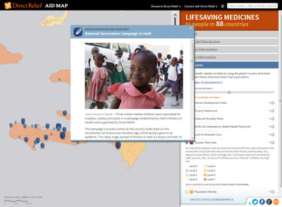 Direct Relief's interactive AidMap documents its humanitarian efforts in more than 70 countries.  (PRNewsFoto/Esri)