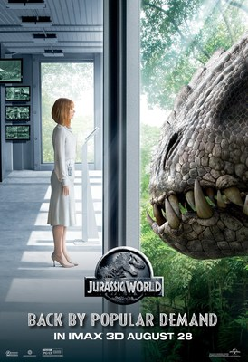 Universal Pictures And Amblin Entertainment's Jurassic World Returns To Domestic IMAX(R) 3D Theatres For One Week Starting Aug. 28