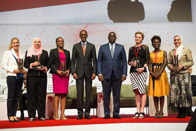 H.E. Macky Sall, President of Senegal and H.E. Paul Kagame, President of Rwanda with the Next Einstein Forum's six female fellows at the launch of the NEF Global Gathering. Earlier, a presidential panel highlighted African women's contribution to STEM as we recognize International Women's Day. Left to Right:   Amanda Weltman, South Africa; Sherien Elagroudy, Egypt; Evelyn Gitau, Kenya;  President Kagame; President Macky Sall, Alta Schutte, South Africa; Tolu Oni, Nigeria; Ghada Bassioni, Egypt.