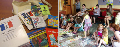 """LEFT: An Ezra Jack Keats Mini-Grant made it possible for the Auburn Public Library in Auburn, Maine, to create a French-themed program for students to help preserve the French language and culture in the local area. Pictured are several elements of the program's """"Fun with French"""" activity kits, which included stories and songs, picture books in English and French, flash cards, crafts and much more. RIGHT: """"Reciting French with a partner is one of the best and most fun ways to learn the language,"""" says Deb Cleveland, children's librarian at the Auburn Public Library in Auburn, Maine. Thanks to an Ezra Jack Keats Mini-Grant, the Library was able to create a French-themed program for students to teach and preserve the language and culture in the local area."""