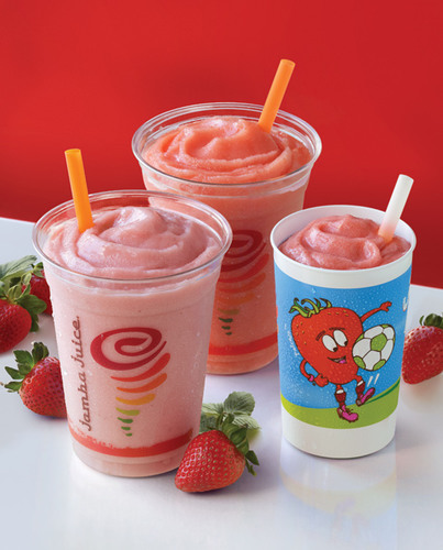 Jamba Juice(R) helps satisfy the summertime craving for strawberries with Strawberries Wild(R), Strawberry Surf Rider(TM) and Jamba Kids(TM) Strawberries Gone Bananas(TM) smoothies.  (PRNewsFoto/Jamba Juice Company)