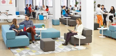 """We considered [furniture] in terms of personal workspaces naturally interspersed with vital collaboration zones including conference rooms, lounges, and entertainment."""
