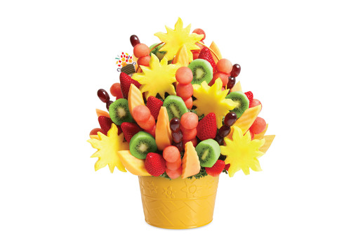 The new Watermelon Kiwi Summer Bouquet(TM) is filled with sun-shaped pineapple, sliced kiwi, watermelon ball ...