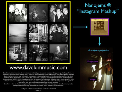 Nanojems' Instagram Mashup of instrumentalist, DJ and professional violinist Dave Kim. Instagram and Facebook users can create their own mashups that contain up to 30 of their own images and 20,000 words all engraved on glass or sapphire pendants, guitar picks or charms. The images can be viewed, reflected or projected on surfaces with an iPhone or Android camera flashlight. #nanojemsprojection.  (PRNewsFoto/Nanojems)