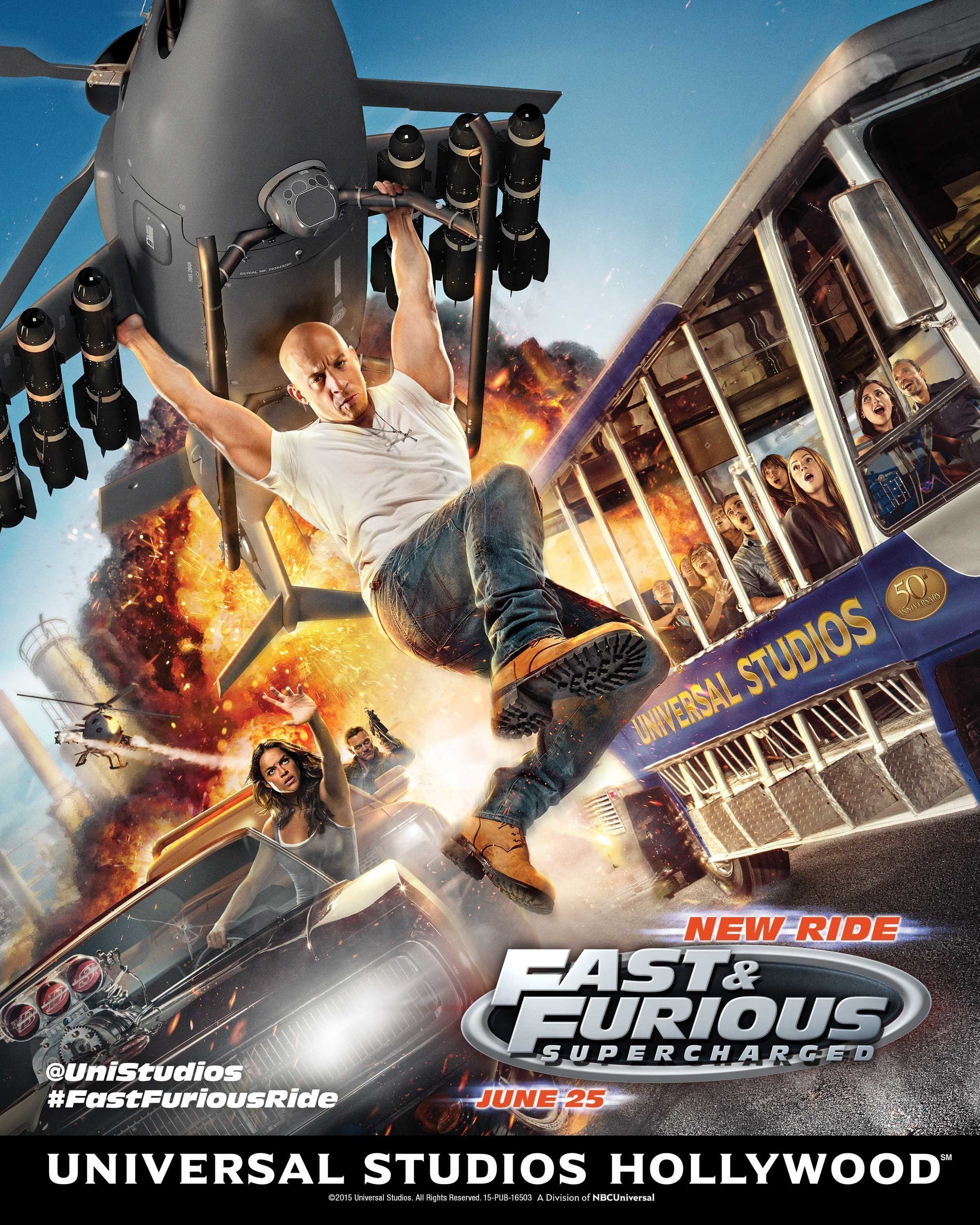 """Universal Studios Hollywood shifts into high gear for the June 25 opening of """"Fast & Furious-Supercharged"""" with the debut of an original poster image featuring the characters racing alongside a Studio Tour tram."""