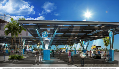 Conceptual rendering of FPL solar canopy at Daytona International Speedway