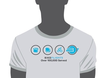 BikeFlights.com released this new T-shirt design to celebrate 100,000 orders since its creation in 2009.