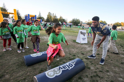 Limerick Avenue Elementary students through LA's BEST After School Enrichment Progam spent the day with Real California Milk and the LA Rams learning about fueling up with healthy foods and getting moving.