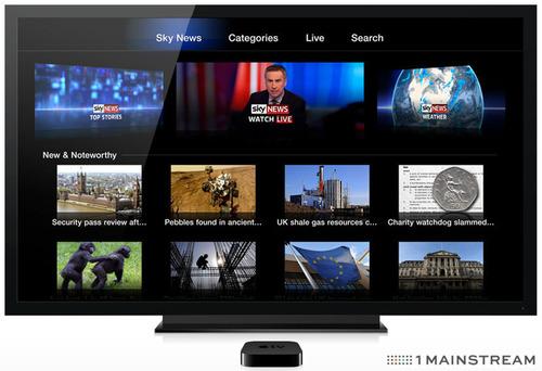 Sky News App on Apple TV powered by 1 Mainstream's automated digital TV distribution platform. (PRNewsFoto/1 Mainstream)