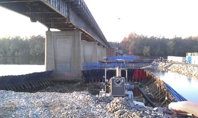 Bridge project aided by cofferdam dewatering.  (PRNewsFoto/Rain for Rent)