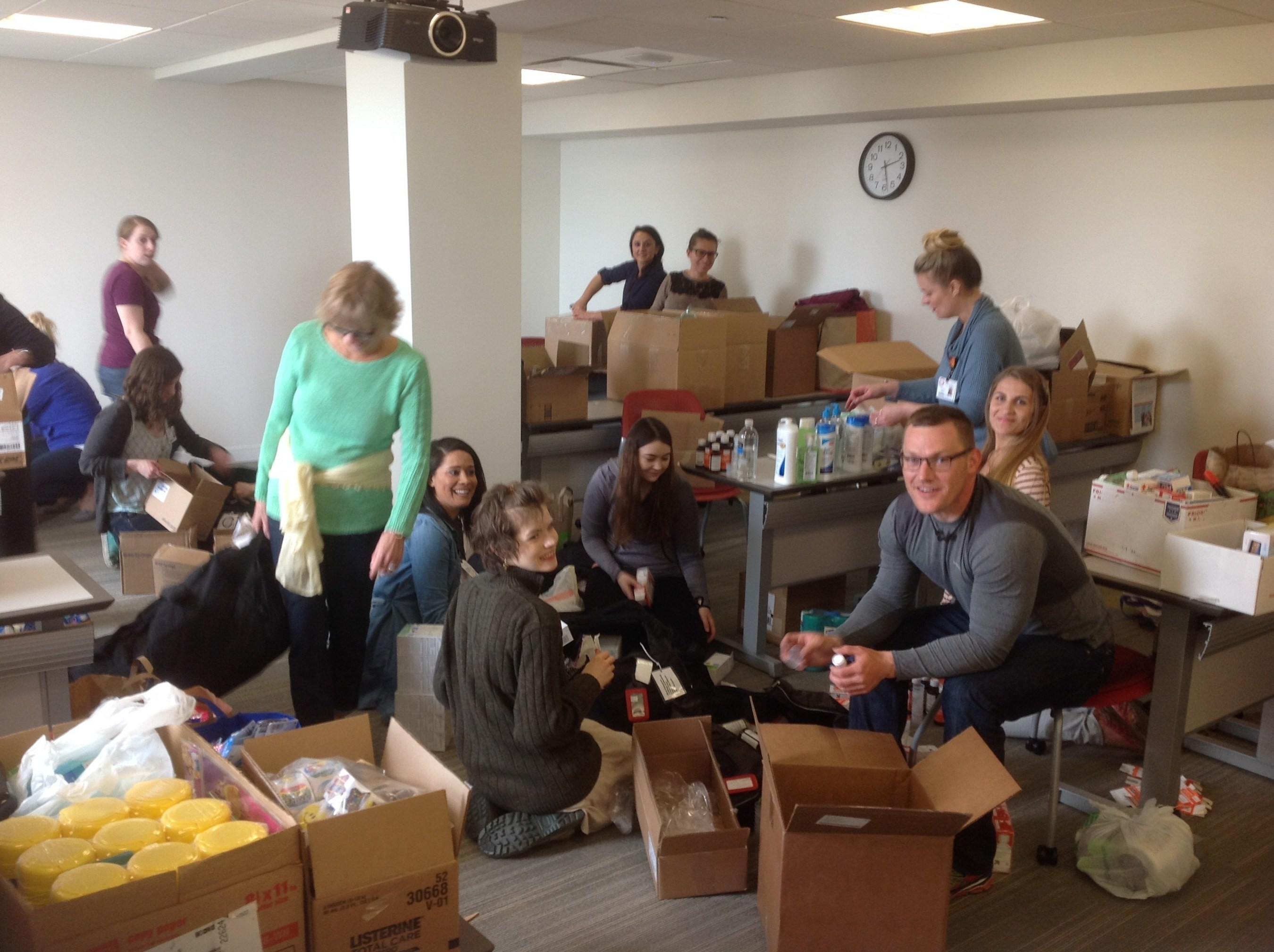 Resurrection University Nursing Students packing donations for Service Learning Trip to Honduras.