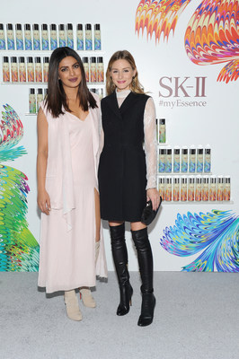 Priyanka Chopra (L) and Olivia Palermo honored at the SK-II #ChangeDestiny Holiday Essence Collection Launch Party on November 17, 2016 in New York City.  (Photo by Craig Barritt/Getty Images for SK-II)